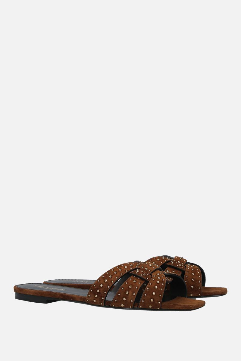 SAINT LAURENT: sandalo flat Nu Pieds 05 in suede con borchie_2