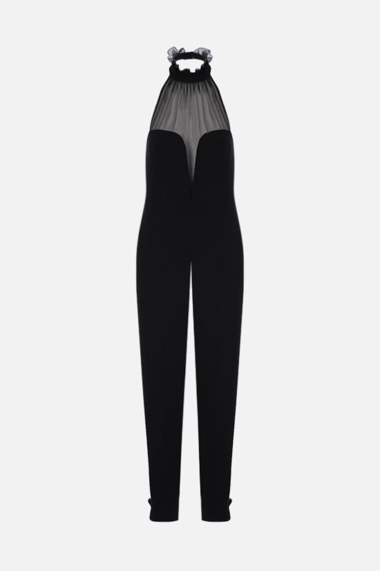 YVES SAINT LAURENT: sablè and chiffon jumpsuit Color Black_1