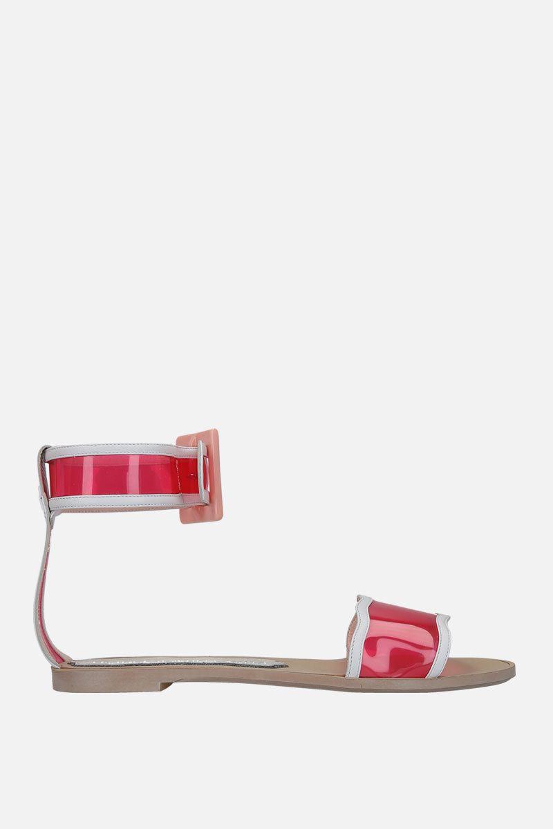 FRANCESCA BELLAVITA: Melody faux leather and PVC flat sandals Color Pink_1