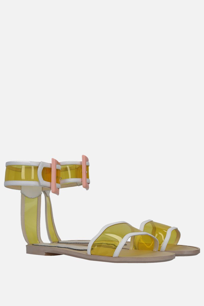 FRANCESCA BELLAVITA: Melody faux leather and PVC flat sandals Color Yellow_2