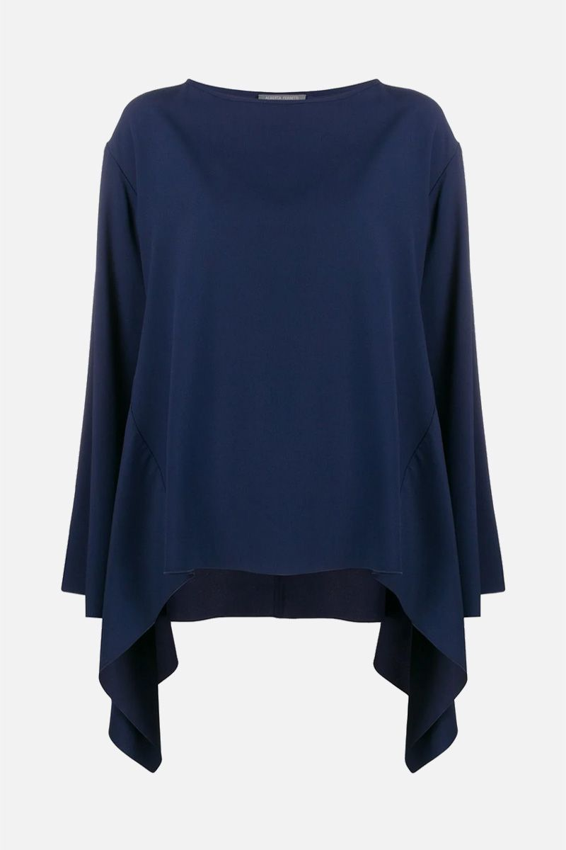 ALBERTA FERRETTI: crepe asymmetric blouse Color Blue_1