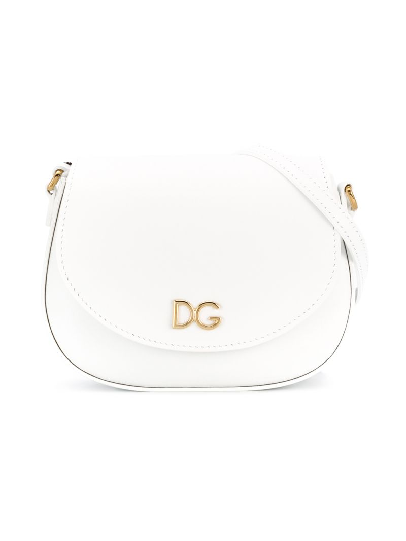 DOLCE & GABBANA CHILDREN: DG-detailed smooth leather shoulder bag Color White_1