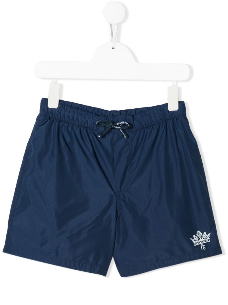 DOLCE & GABBANA CHILDREN: logo print nylon swimming trunks Color Blue_1