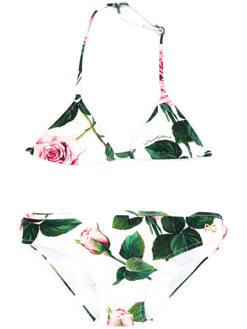 DOLCE & GABBANA CHILDREN: Tropical Rose print nylon bikini Color Pink_1