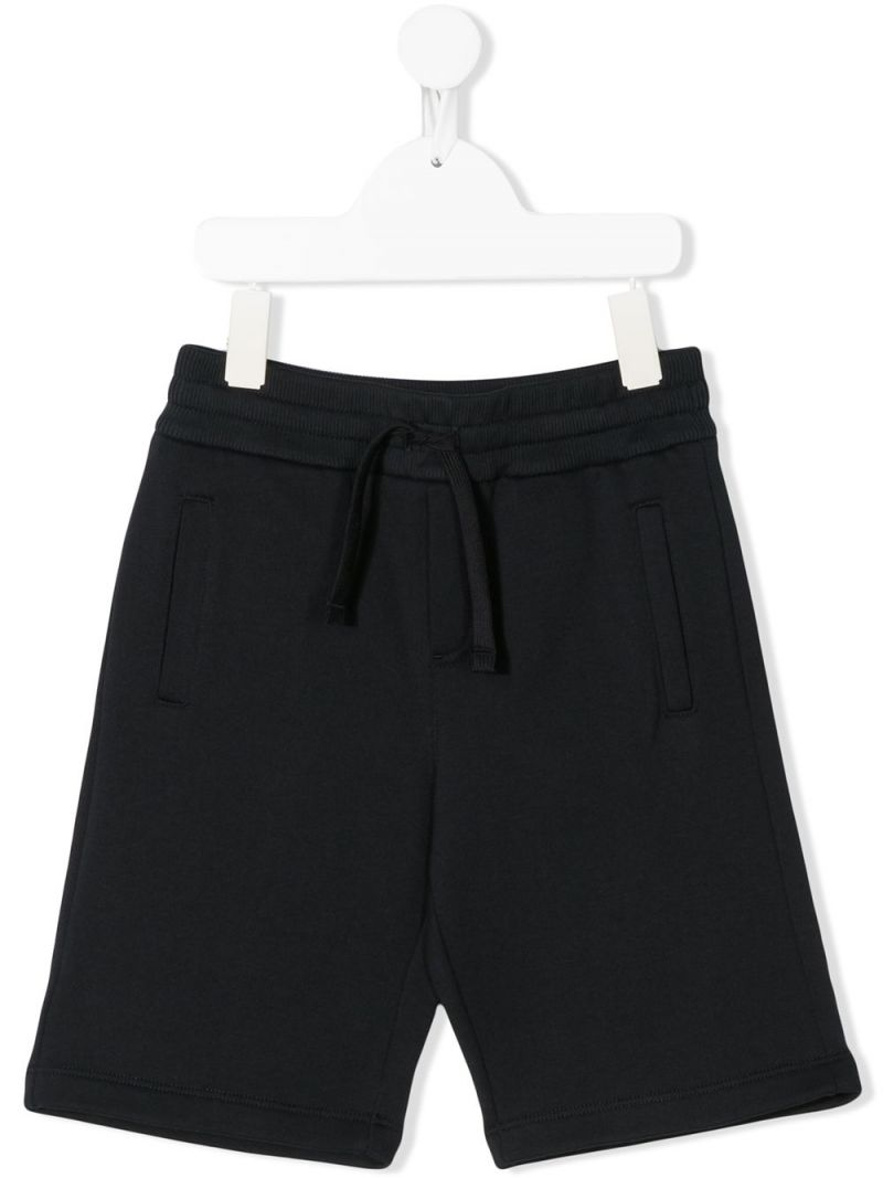 DOLCE & GABBANA CHILDREN: logo-detailed cotton shorts Color Blue_1