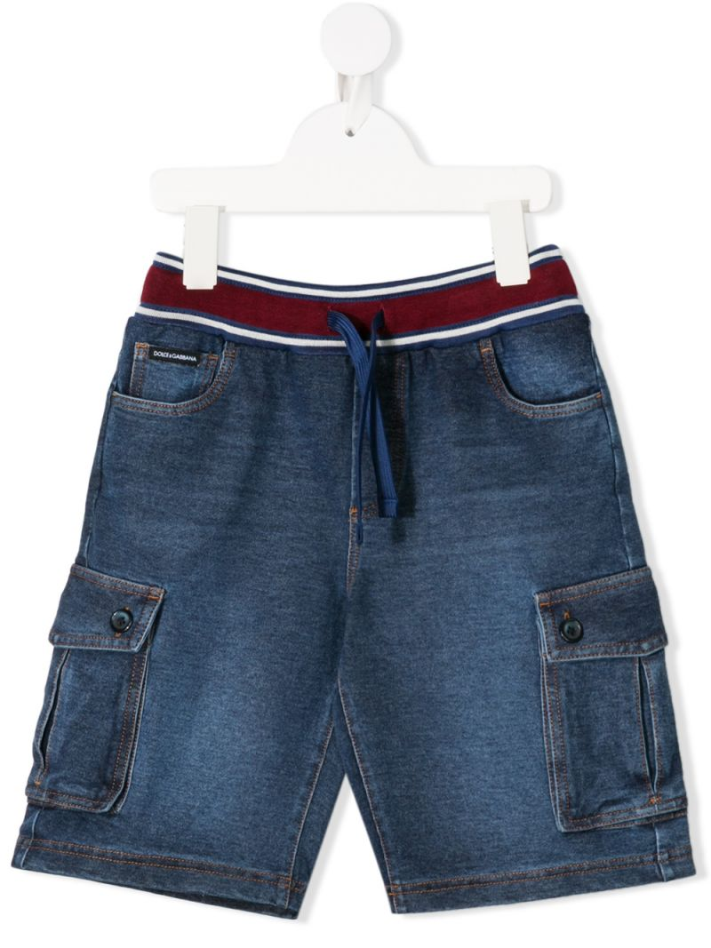 DOLCE & GABBANA CHILDREN: stretch denim cargo shorts Color Blue_1