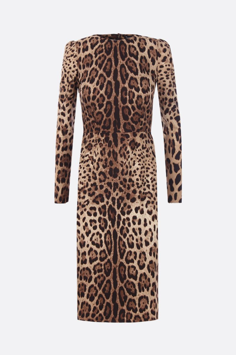 DOLCE & GABBANA: leopard print chearmeuse midi dress Color Animalier_1