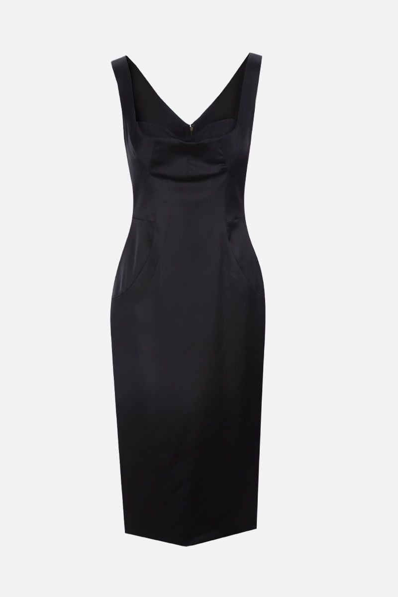 DOLCE & GABBANA: stretch satin midi dress Color Black_1