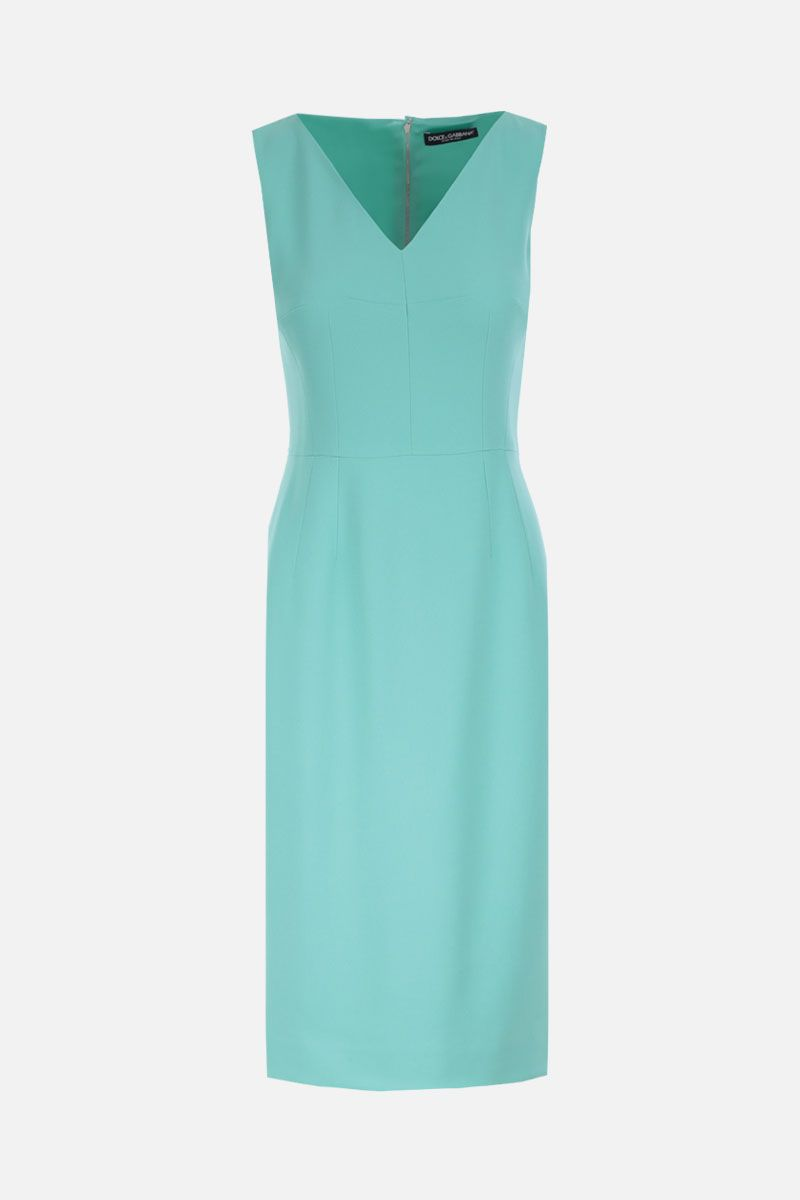 DOLCE & GABBANA: stretch cady midi dress Color Green_1