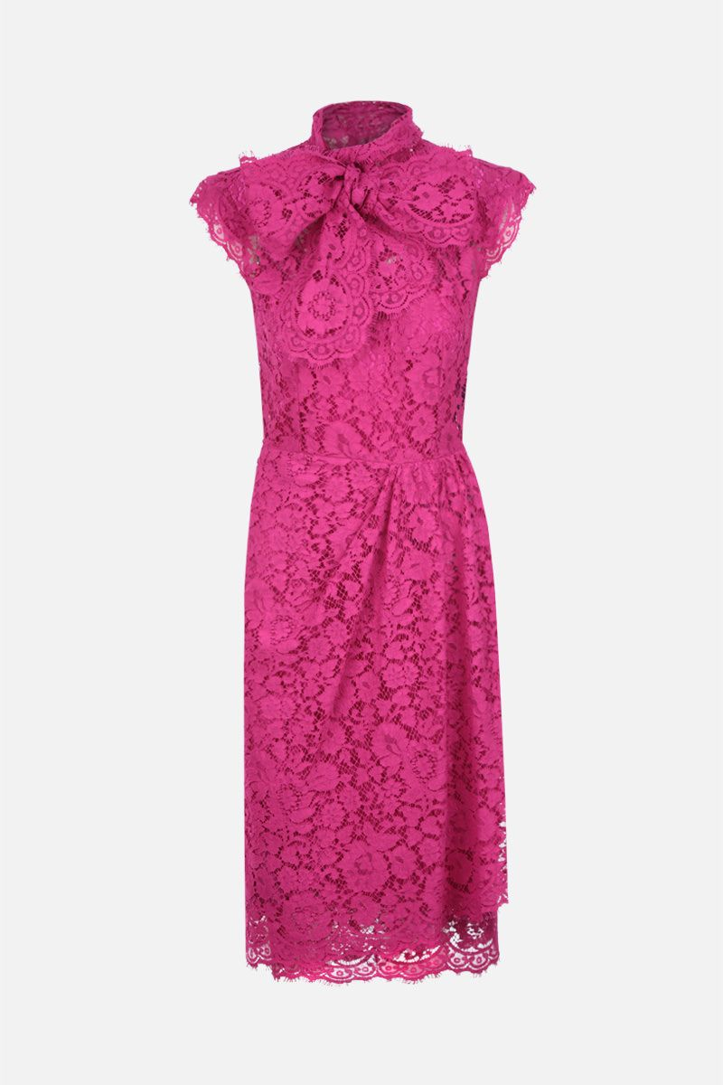 DOLCE & GABBANA: Cordonetto lace midi dress Color Pink_1