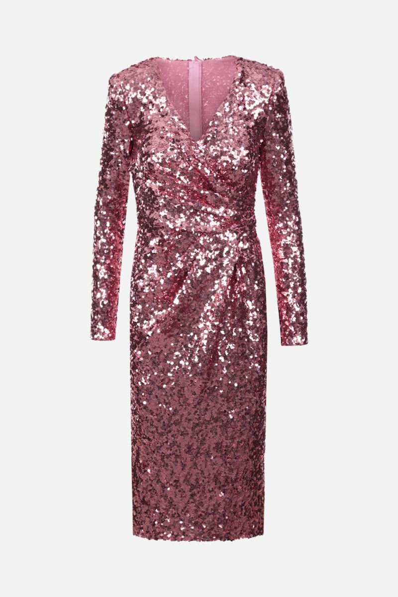 DOLCE & GABBANA: sequinned longuette dress Color Pink_1