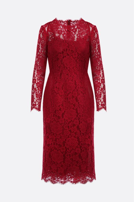 DOLCE & GABBANA: floral lace pencil dress Color Red_1