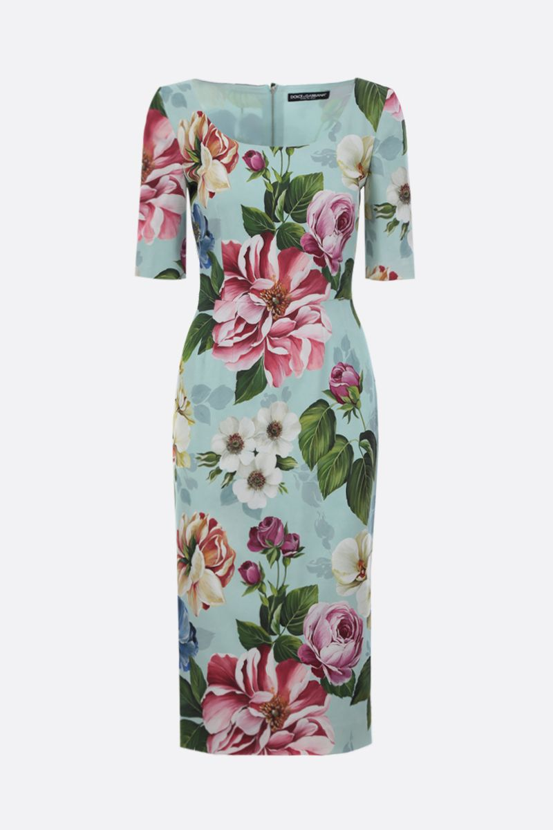 DOLCE & GABBANA: floral print stretch cady midi dress_1