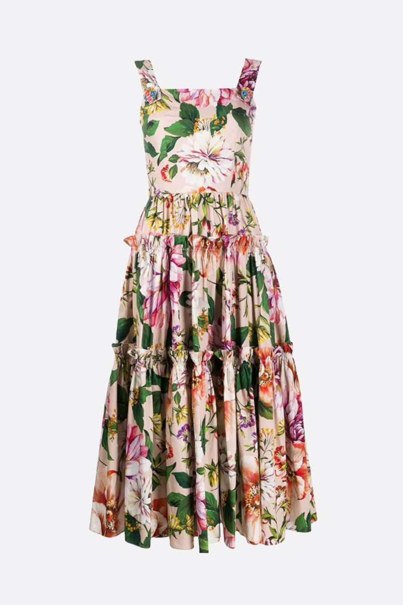 DOLCE & GABBANA: floral printed cotton midi dress_1