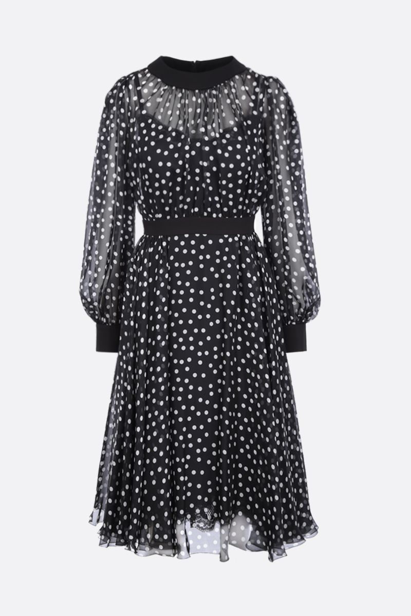 DOLCE & GABBANA: polka-dot silk chiffon midi dress Color Black_1