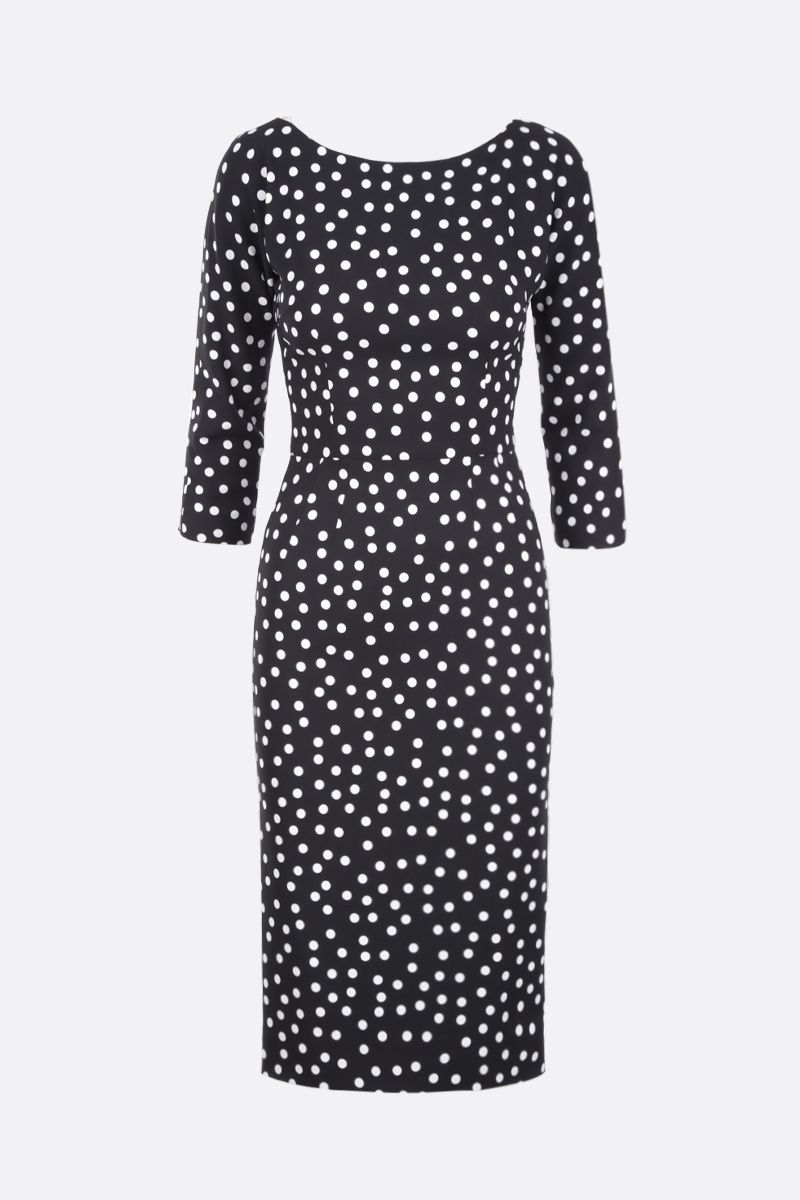 DOLCE & GABBANA: polka-dot cady midi dress Color Black_1