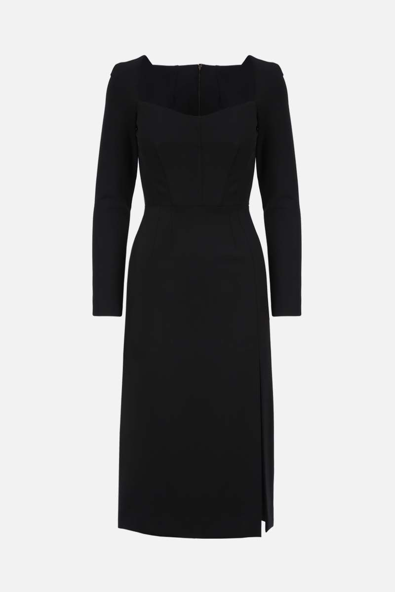 DOLCE & GABBANA: stretch cady pencil dress Color Black_1