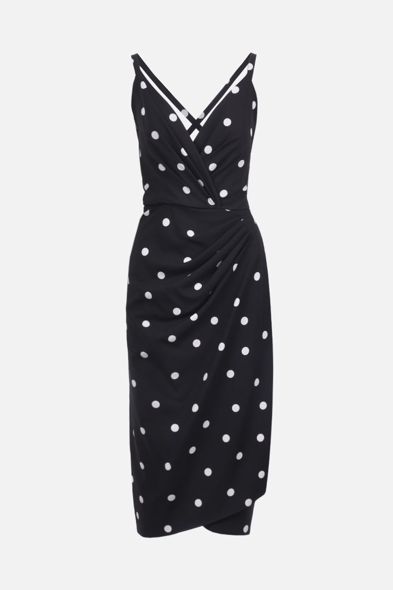 DOLCE & GABBANA: polka-dot stretch cady midi dress Color Black_1