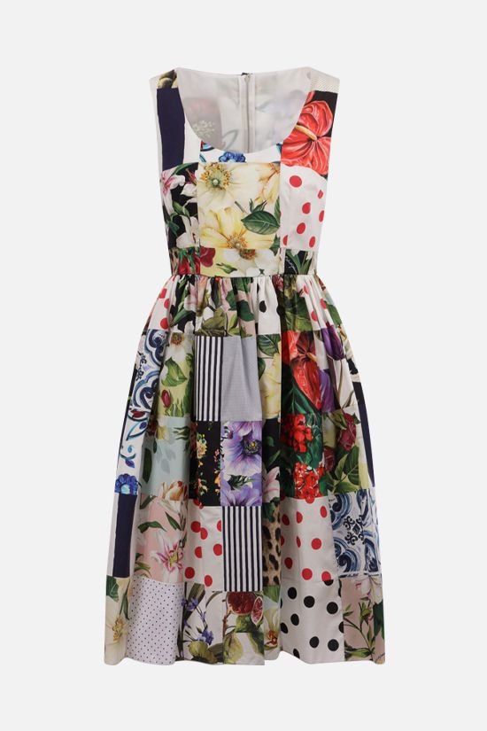 DOLCE & GABBANA: cotton patchwork sleeveless dress Color Multicolor_1