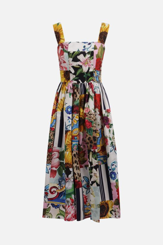 DOLCE & GABBANA: patchwork print cotton midi dress Color Multicolor_1