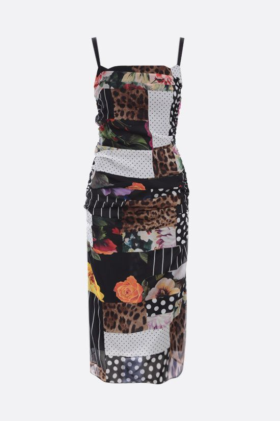 DOLCE & GABBANA: chiffon patchwork draped dress Color Multicolor_1