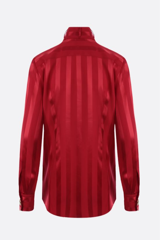 DOLCE & GABBANA: bib-detailed striped silk shirt Color Red_2