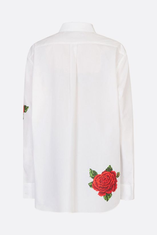 DOLCE & GABBANA: oversize roses embroidered cotton silk shirt Color White_2