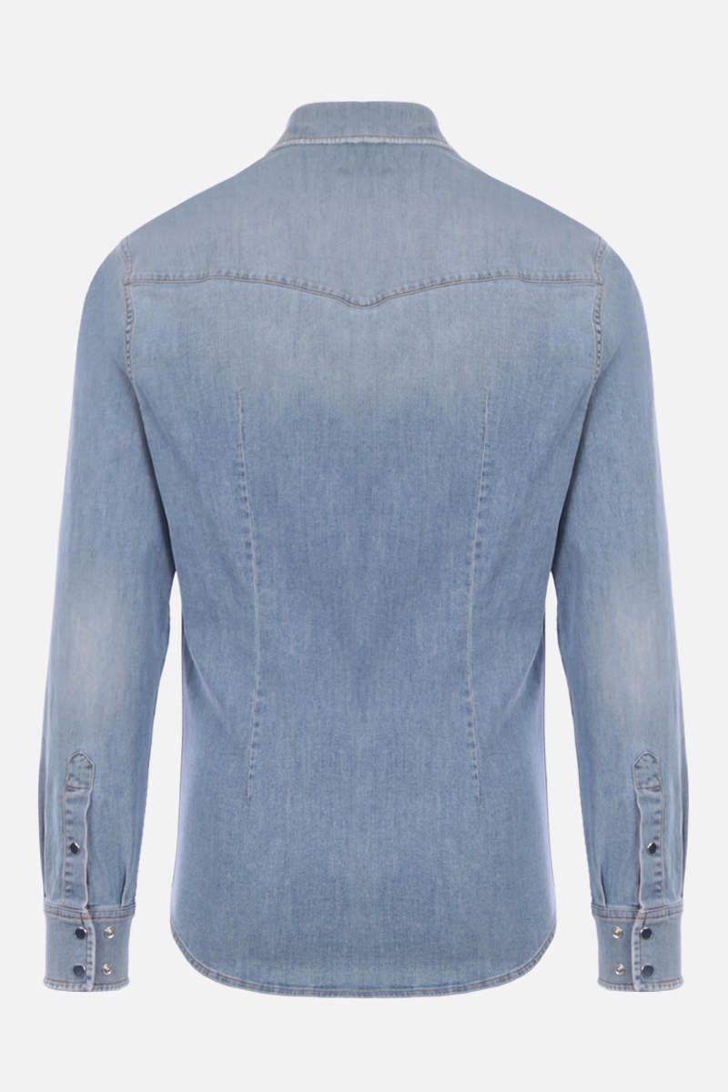 DOLCE & GABBANA: DG Crown patch stretch denim shirt Color Blue_2