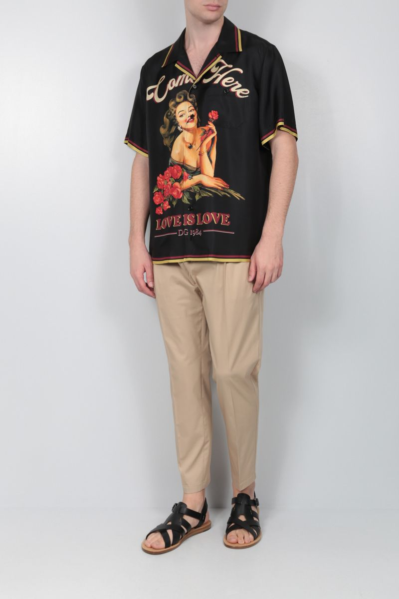 DOLCE & GABBANA: Pin-up print silk bowling shirt Color Multicolor_2