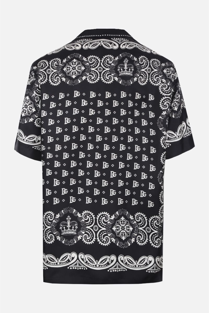 DOLCE & GABBANA: Bandana & Crown print silk bowling shirt Color Black_2
