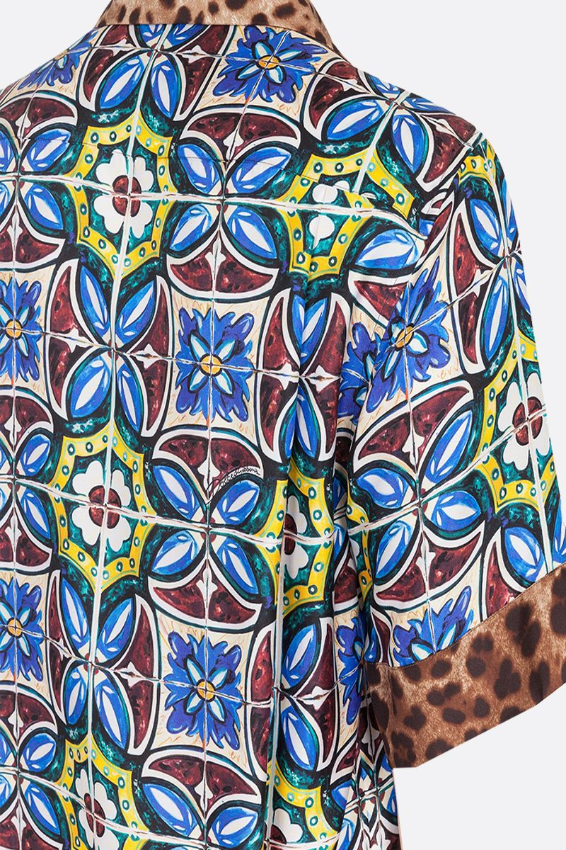 DOLCE & GABBANA: Maiolica and leopard printed silk bowling shirt Color Multicolor_4