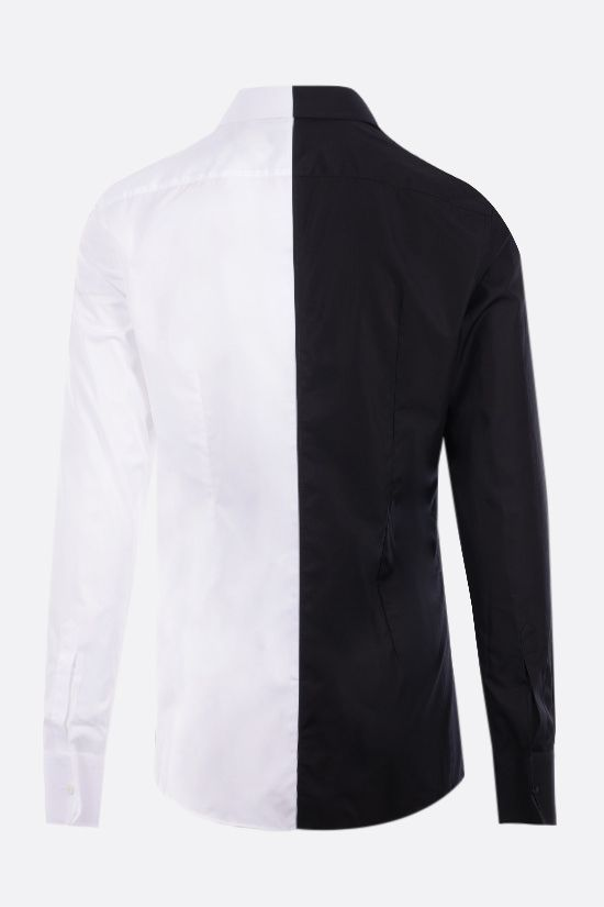 DOLCE & GABBANA: two-tone poplin shirt with logo patch Color Black_2