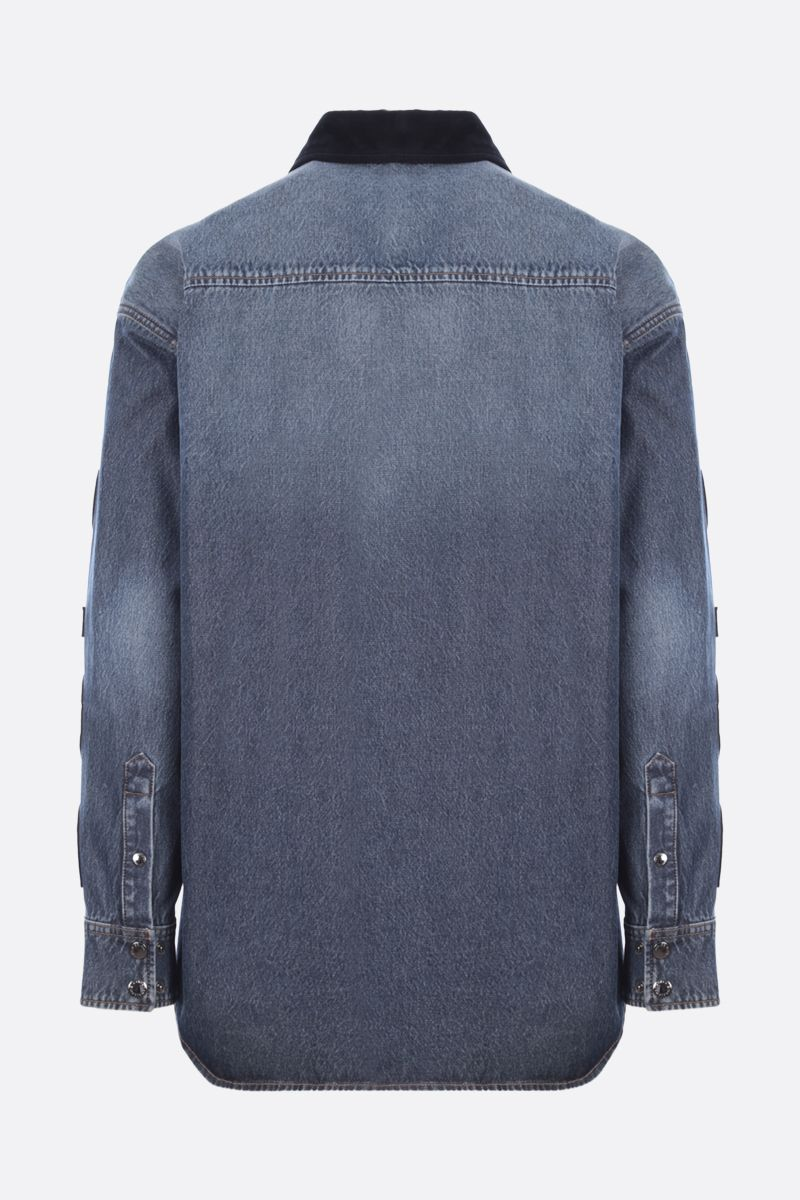 DOLCE & GABBANA: logo patch denim and wool shirt Color Multicolor_2