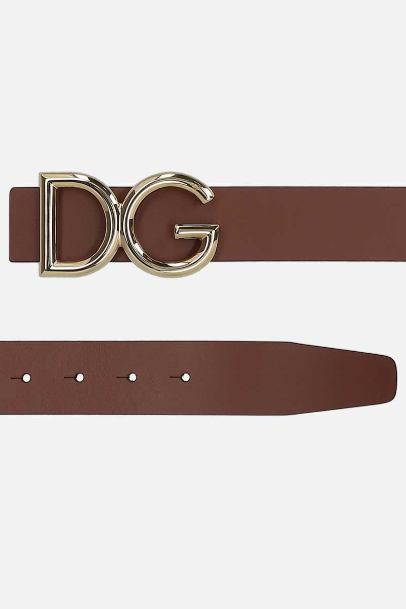 DOLCE & GABBANA: DG buckle-detailed shiny leather belt Color Brown_2