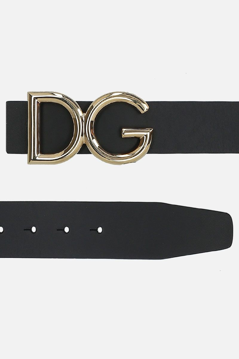 DOLCE & GABBANA: DG bucke-detailed shiny leather belt Color Black_2