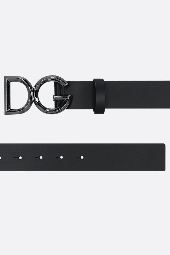 DOLCE & GABBANA: DG buckle-detailed smooth leather belt Color Black_2