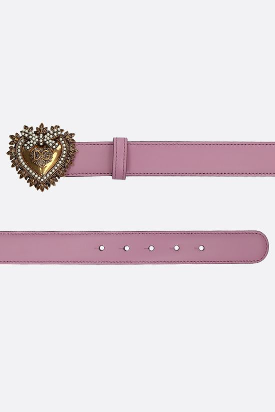 DOLCE & GABBANA: Devotion smooth leather belt Color Pink_2