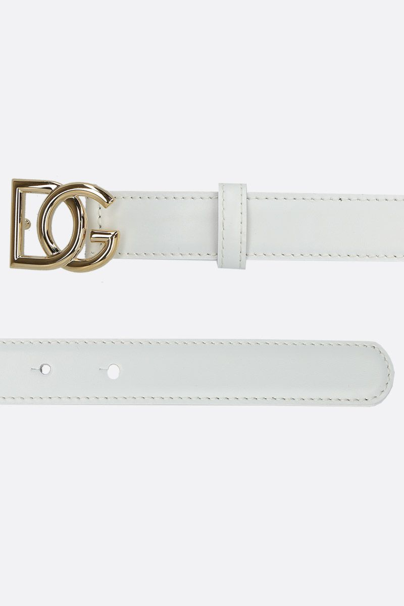 DOLCE & GABBANA: DG buckle-detailed smooth leather belt Color White_2