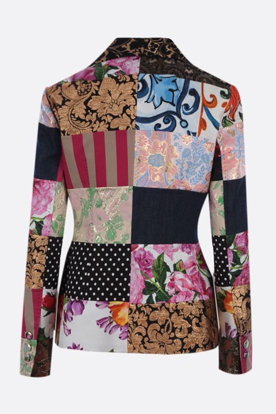 DOLCE & GABBANA: patchwork brocade and jacquard double-breasted jacket Color Multicolor_2
