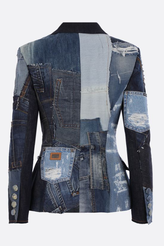 DOLCE & GABBANA: single-breasted patchwork denim jacket Color Blue_2