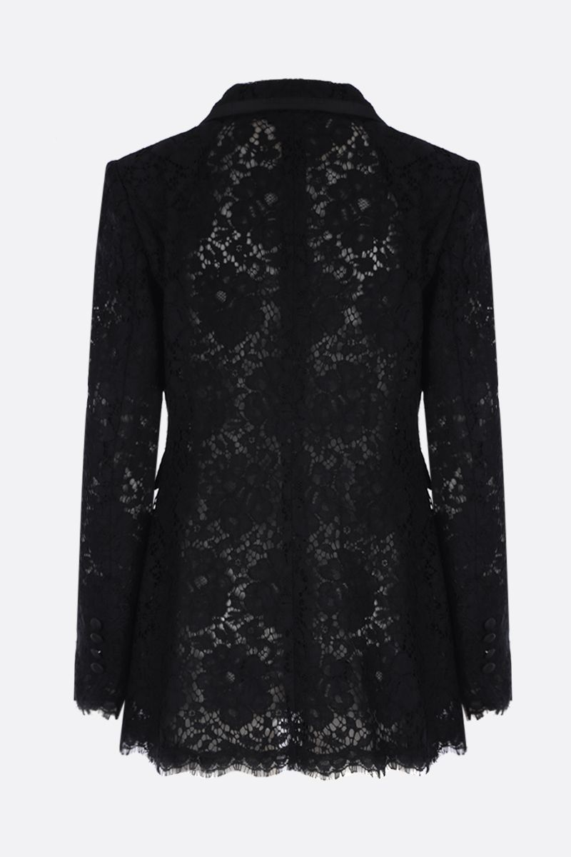DOLCE & GABBANA: Cordonetto lace single-breasted jacket Color Black_2
