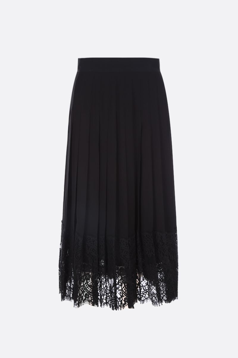 DOLCE & GABBANA: georgette pleated skirt with lace inserts Color Black_1