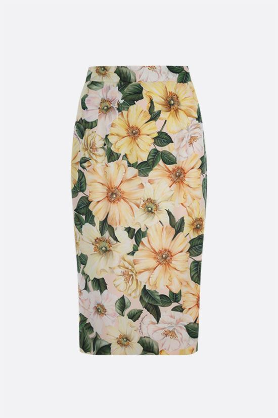 DOLCE & GABBANA: Camellia print stretch silk pencil skirt Color Pink_1