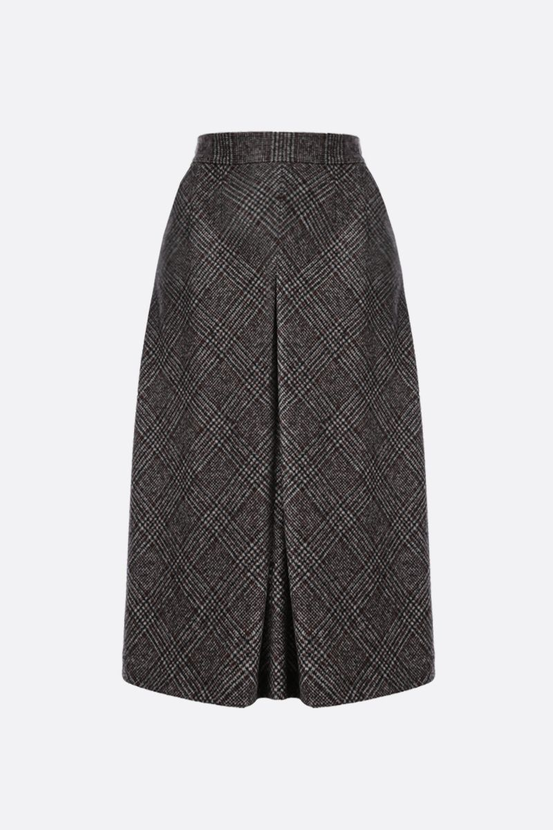 DOLCE & GABBANA: prince of Wales-motif wool blend A-line skirt Color Grey_1
