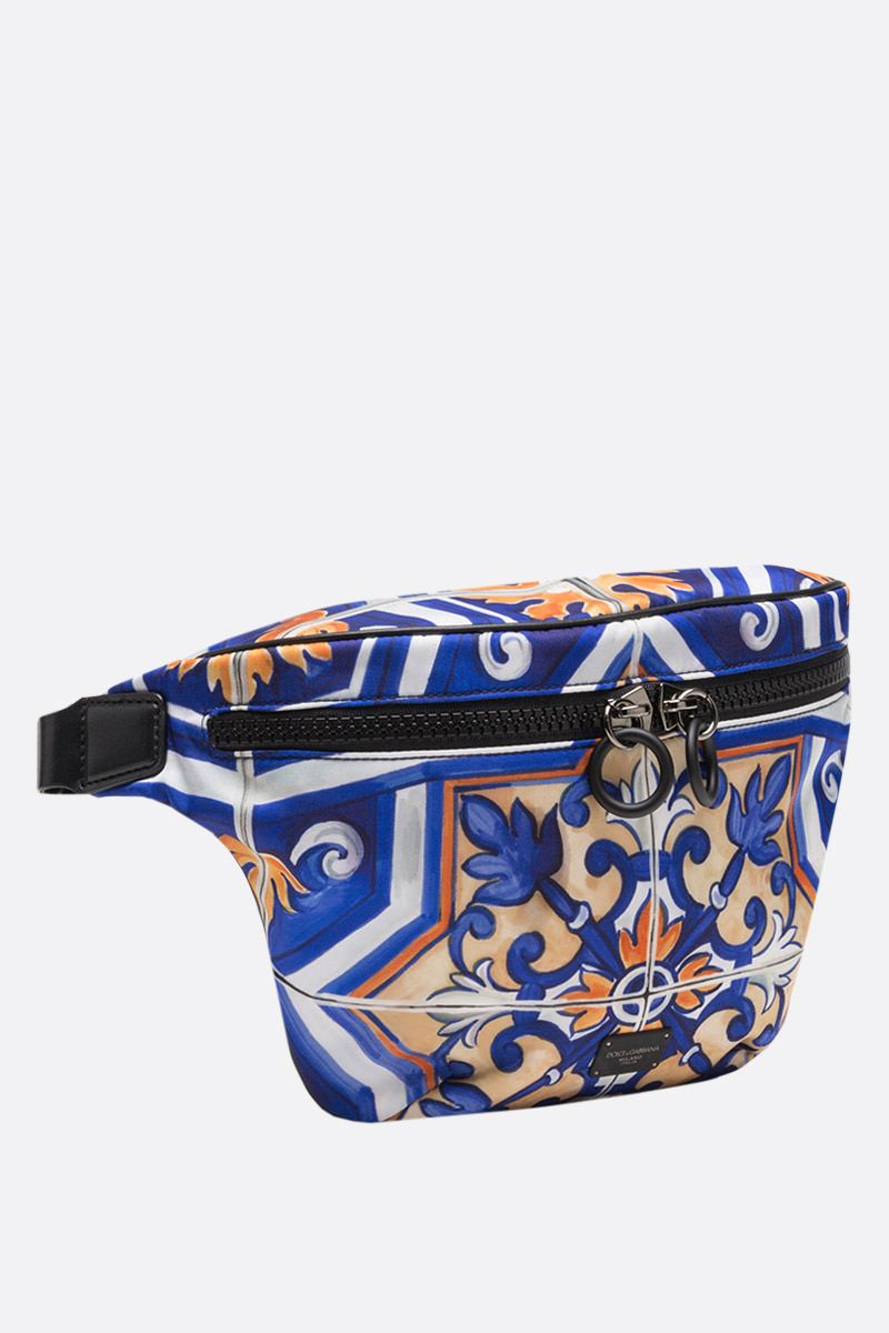 DOLCE & GABBANA: maiolica print nylon belt bag Color Multicolor_2