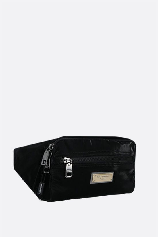 DOLCE & GABBANA: Nero Sicilia DNA shiny nylon belt bag Color Black_2