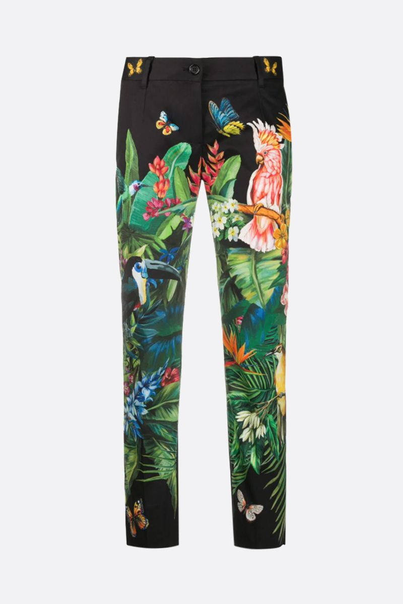 DOLCE & GABBANA: Jungle printed stretch cotton cropped pants Color Black_1