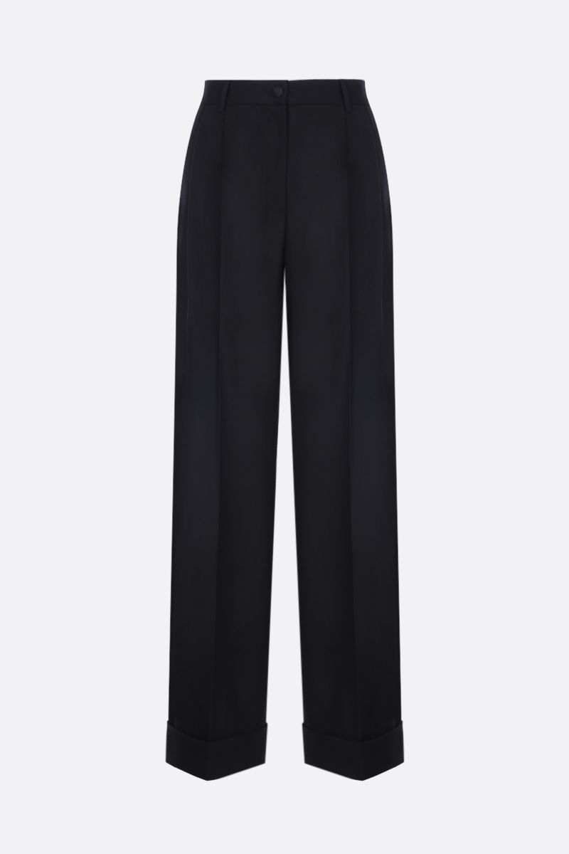 DOLCE & GABBANA: stretch gabardine wide-leg pants Color Black_1