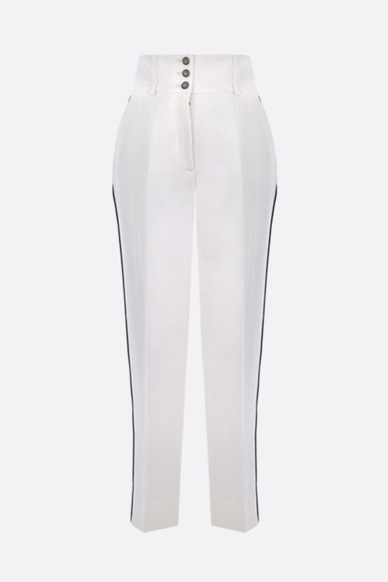 DOLCE & GABBANA: high-waisted stretch wool pants Color White_1