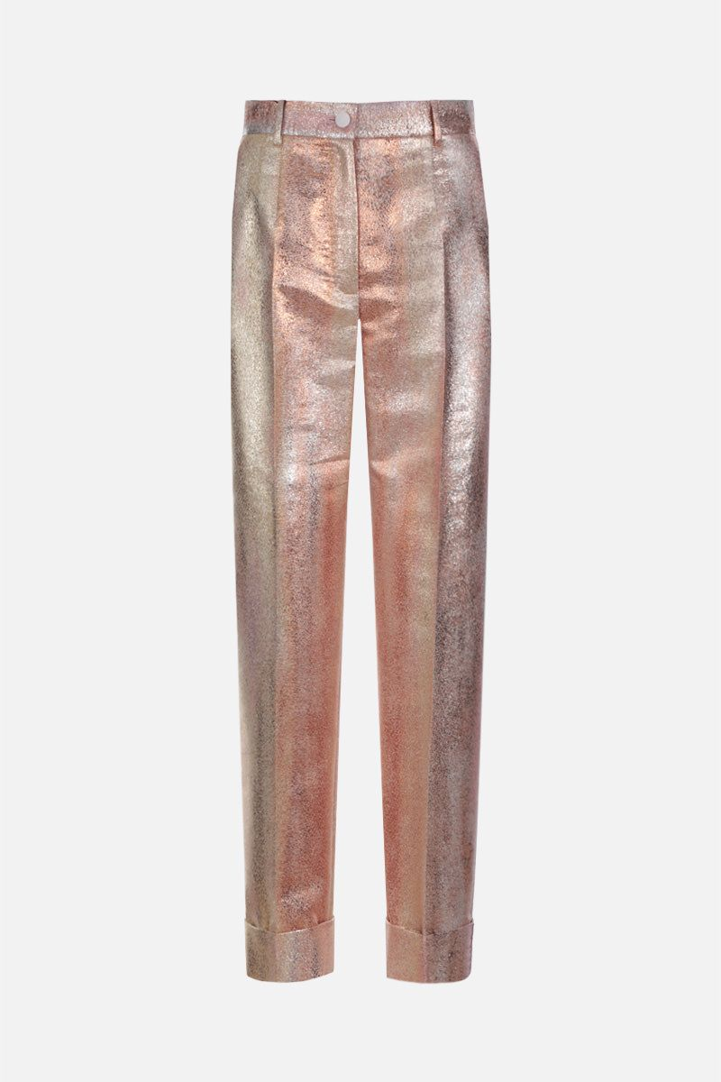 DOLCE & GABBANA: lamè jacquard cropped pants Color Gold_1